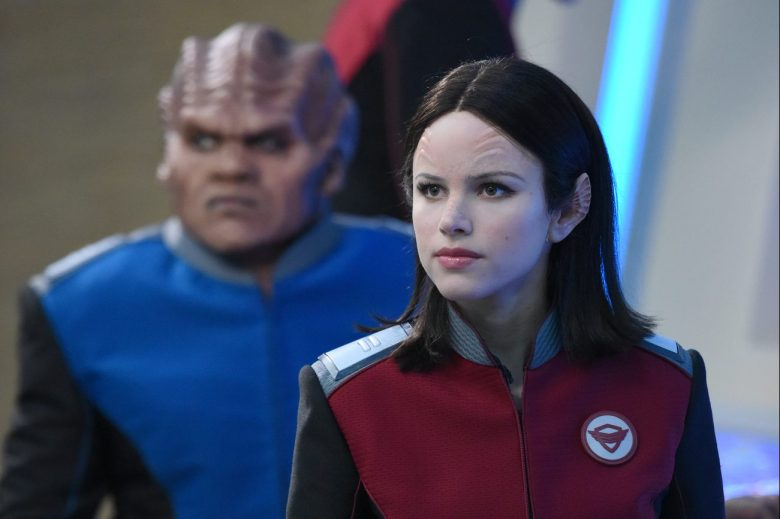 "THE ORVILLE: L-R: Peter Macon and Halston Sage in the ""If the Stars Should Appear"" episode of THE ORVILLE airing Thursday, Sept. 28 (9:01-10:00 PM ET/PT) on FOX. ©2017 Fox Broadcasting Co. Cr: Michael Becker/FOX"
