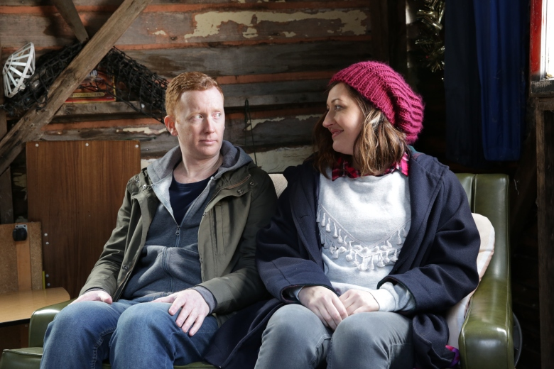 Celia Pacquola as Emma Dawes, Luke McGregor as Daniel McCallum - Rosehaven _ Season 1, Episode 4 - Photo Credit: SundanceTV