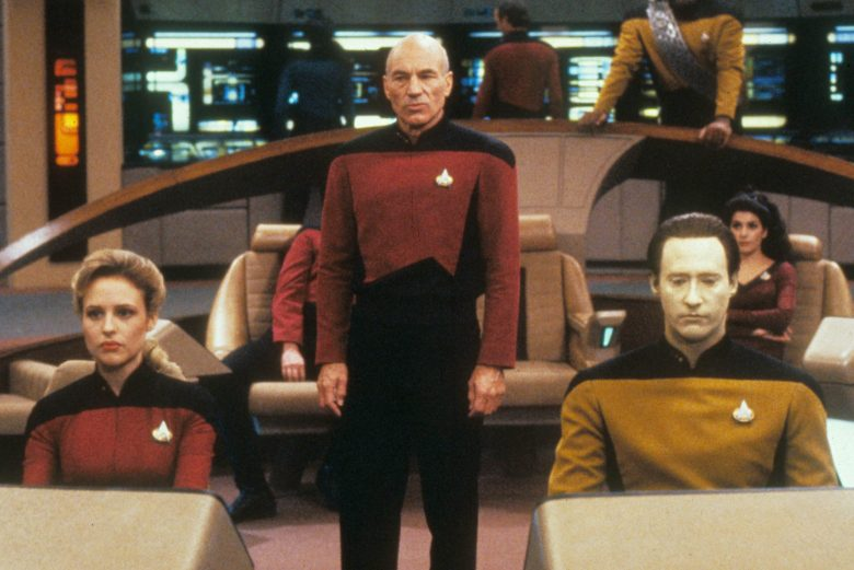 No Merchandising. Editorial Use Only. No Book Cover Usage.Mandatory Credit: Photo by Moviestore/REX/Shutterstock (1602497a)Star Trek: The Next Generation , Patrick Stewart, Michael Dorn, Brent Spiner, Marina SirtisFilm and Television