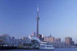 Skyline, Toronto, Canada, Ontario, Lake Ontario, CN Tower and skyline of downtown Toronto from Toronto Inner Harbor on Lake Ontario.VARIOUS