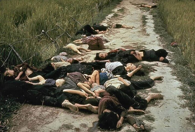 The My Lai Massacre, the mass murder of 347 to 504 unarmed citizens of the Republic of Vietnam (South Vietnam), almost entirely civilians and the majority of them women and children, perpetrated by US Army forces on March 16 1968. Bodies of some of the victims lying along a road.History