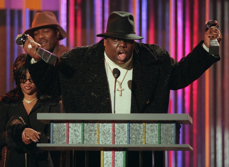 NOTORIOUS BIG FILE** The family of rapper Notorious B.I.G., shown clutching his awards at the Billboard Music Awards in New York,, has asked a Los Angeles judge for permission to expand their wrongful-death lawsuit against the city of Los Angeles. Notorious B.I.G., born Christopher Wallace, was fatally shot in 1997 in a sport utility vehicle shortly after a party in Los AngelesNOTORIOUS BIG SUIT, NEW YORK, USA