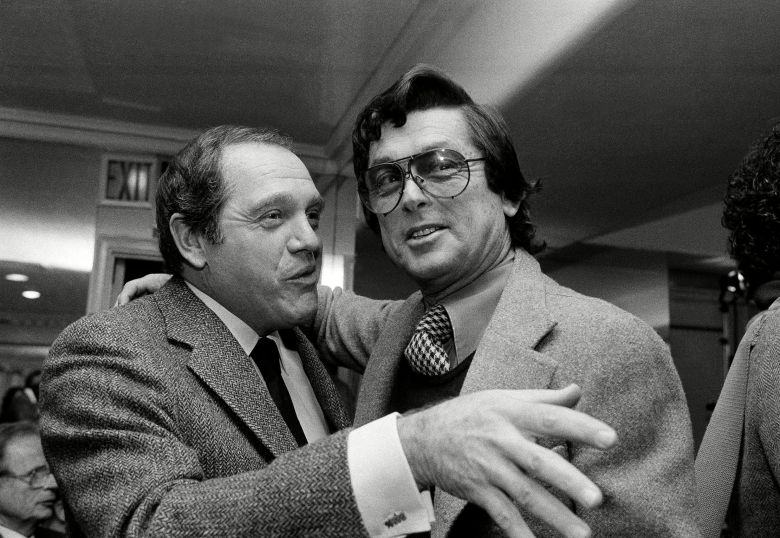 "Robert Evans Actor Alan King, left, and film producer Robert Evans greet each other before the start of a press conference held by studio and film union officials in New York on . Evans announced a ""breakthrough"" agreement with eight film union locals that he said will enable him to shoot his new 20 million dollar movie, ""Cotton Club,"" in New York, instead of in EuropeRobert Evans, New York, USA"