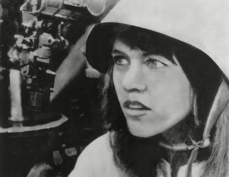 U.S. actress Jane Fonda wears helmet during her visit to an North Vietnamese antiaircraft gun unit in Hanoi, VietnamActress Jane Fonda