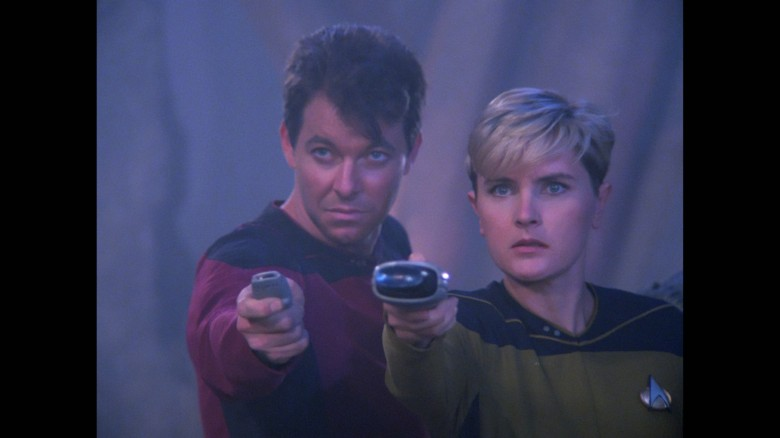 No Merchandising. Editorial Use Only. No Book Cover Usage Mandatory Credit: Photo by Kobal/REX/Shutterstock (7944840c) Jonathan Frakes, Denise Crosby Star Trek: The Next Generation' TV Series - 1990s