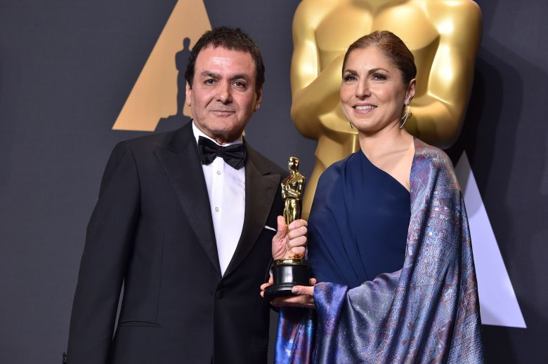 Dr Firouz Naderi and Anousheh Ansari - Foreign Language - 'The Salesman'89th Annual Academy Awards, Press Room, Los Angeles, USA - 26 Feb 2017