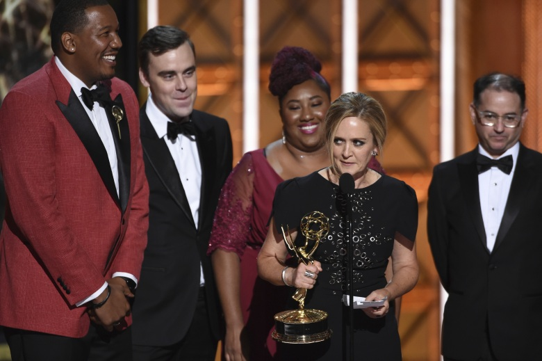 "The team from ""Full Frontal with Samantha Bee Presents: Not the White House Correspondents' Dinner"" accepts the award for outstanding writing for a variety special during night one of the Television Academy's 2017 Creative Arts Emmy Awards at the Microsoft Theater, in Los AngelesTelevision Academy's 2017 Creative Arts Emmy Awards - Show - Night 1, Los Angeles, USA - 09 Sep 2017"
