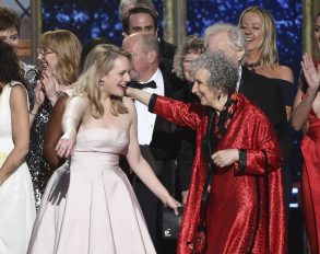 "Elisabeth Moss, Margaret Atwood. Elisabeth Moss, left, and author Margaret Atwood embrace as ""The Handmaid's Tale"" wins the award for outstanding drama series at the 69th Primetime Emmy Awards, at the Microsoft Theater in Los Angeles69th Primetime Emmy Awards - Show, Los Angeles, USA - 17 Sep 2017"