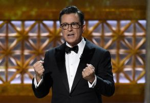 Host Stephen Colbert speaks at the 69th Primetime Emmy Awards, at the Microsoft Theater in Los Angeles2017 Primetime Emmy Awards - Show, Los Angeles, USA - 17 Sep 2017