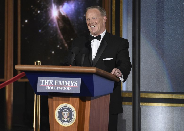 Sean Spicer speaks at the 69th Primetime Emmy Awards, at the Microsoft Theater in Los Angeles2017 Primetime Emmy Awards - Show, Los Angeles, USA - 17 Sep 2017