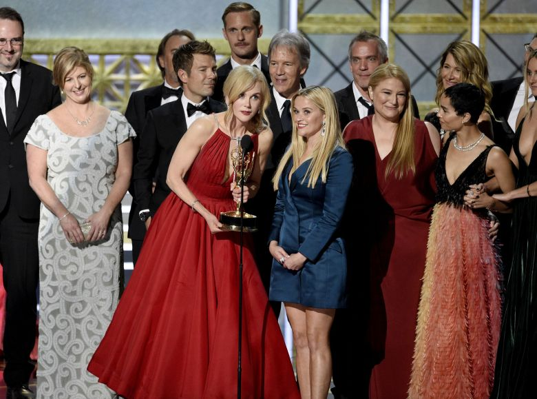 "Nicole Kidman, Reese Witherspoon. Nicole Kidman, center left, Reese Witherspoon, center right, and cast and crew accept the award for outstanding limited series for ""Big Little Lies"" at the 69th Primetime Emmy Awards, at the Microsoft Theater in Los AngelesAPTOPIX 2017 Primetime Emmy Awards - Show, Los Angeles, USA - 17 Sep 2017"