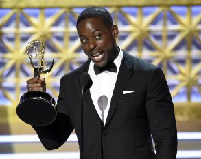 """Sterling K. Brown accepts the award for outstanding lead actor in a drama series for """"This Is Us"""" at the 69th Primetime Emmy Awards, at the Microsoft Theater in Los Angeles2017 Primetime Emmy Awards - Show, Los Angeles, USA - 17 Sep 2017"""