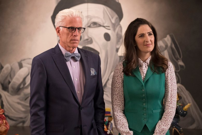 "THE GOOD PLACE -- ""Dance Dance Resolution"" Episode 203 -- Pictured: (l-r) Ted Danson as Michael, D'Arcy Carden as Janet -- (Photo by: Colleen Hayes/NBC)"