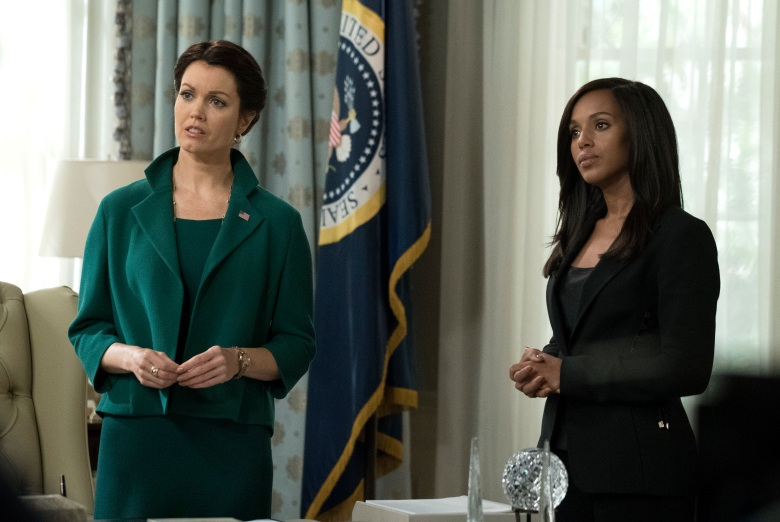 "SCANDAL - ""Watch Me"" - One hundred days into Mellie's presidency, Olivia Pope is proving she can run the world; but to avoid an international incident, she may have to make her toughest call yet. Meanwhile, Quinn Perkins & Associates struggle to find their first client, on the highly-anticipated season premiere of ""Scandal,"" airing THURSDAY, OCTOBER 5 (9:00-10:00 p.m. EDT), on The ABC Television Network. (ABC/Richard Cartwright) BELLAMY YOUNG, KERRY WASHINGTON"