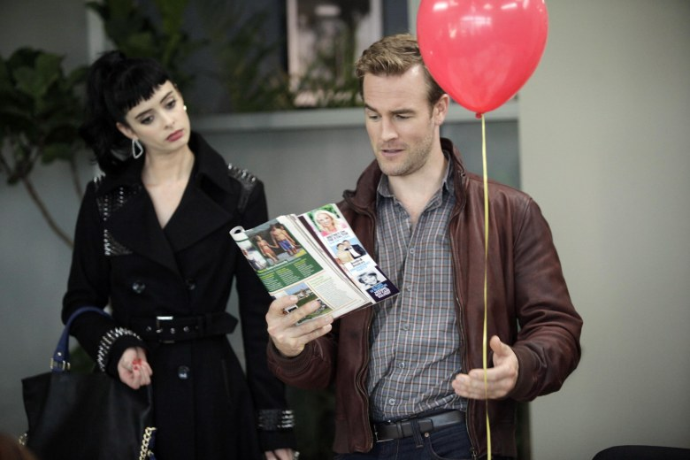 No Merchandising. Editorial Use Only. No Book Cover Usage.Mandatory Credit: Photo by 20th Century Fox Television/Kobal/REX/Shutterstock (5884675o) Krysten Ritter, James Van Der Beek Don't Trust The B---- In Apartment 23 - 2012 20th Century Fox Television USA Television Don't Trust The Bitch In Apartment 23