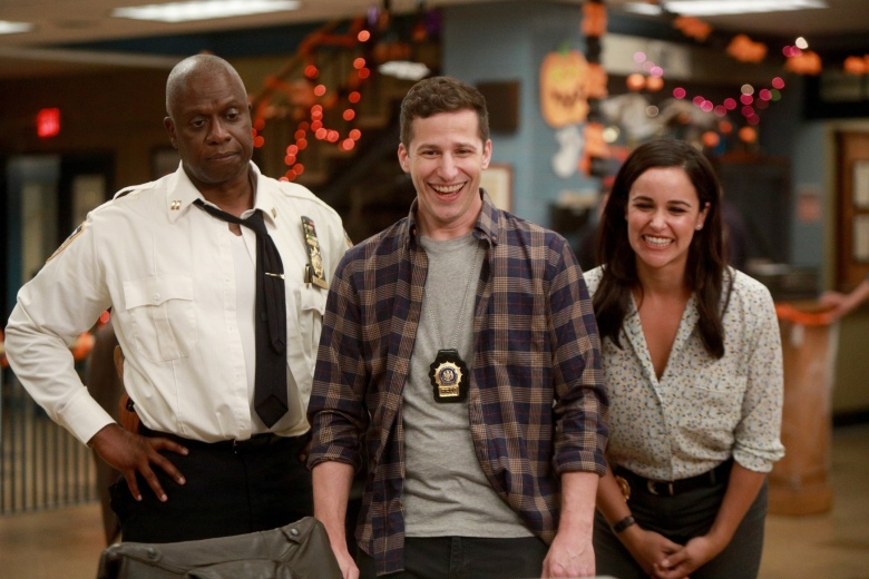 "BROOKLYN NINE-NINE: L-R: Andre Braugher, Andy Samberg and Melissa Fumero in the ""HalloVeen"" episode of BROOKLYN NINE-NINE airing Tuesday, Oct. 17 (9:30-10:00 PM ET/PT) on FOX. CR: JORDIN ALTHAUS/FOX"