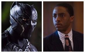Chadwick Boseman as Black Panther and Thurgood Marshall