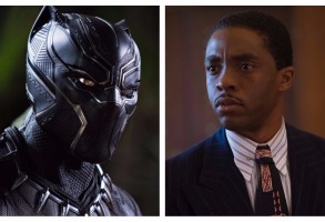 Chadwick Boseman as Black Panther and Thurgood Marshall