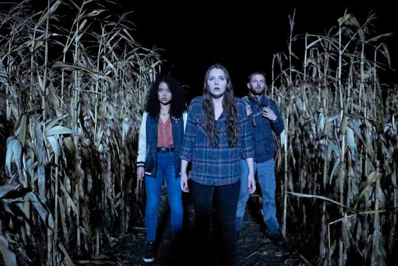 "CHANNEL ZERO: NO END HOUSE -- ""The Exit"" Episode 110 -- Pictured: (l-r) Aisha Dee as Jules, Amy Forsyth as Margot, Sebastian Pigott as Dylan -- (Photo by: Allen Fraser/Syfy)"
