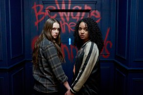 """CHANNEL ZERO: NO END HOUSE -- """"The Exit"""" Episode 110 -- Pictured: (l-r) Amy Forsyth as Margot, Aisha Dee as Jules -- (Photo by: Allen Fraser/Syfy)"""