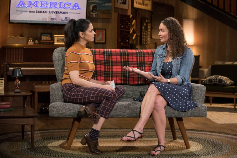 I LOVE YOU, AMERICA -- From inciting treason to telling poop jokes, Sarah Silverman has created her fair share of online chatter. With I Love You, America, sheÕs looking to connect with people who may not agree with her personal opinions through honesty, humor, genuine interest in others, and not taking herself too seriously. While itÕs great to connect with like-minded people, Silverman feels itÕs crucial, now more than ever, to connect with the un-like-minded. Guests include Megan Phelps-Roper. (Photo by: Erin Simkin/Hulu)