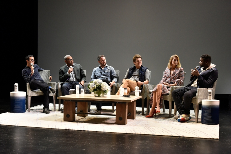 "EAST HAMPTON, NY - OCTOBER 08:  Moderator Eric Kohn, Director Jordan Peele,  Producer Sean McKittrick, Producer Jason Blum, Actor  Daniel Kaluuya, Actress Allison Williams  speak during panel discussion for  ""Anatomy of a Scene: Get Out"" during Hamptons International Film Festival 2017  - Day Four on October 8, 2017 in East Hampton, New York.  (Photo by Eugene Gologursky/Getty Images for Hamptons International Film Festival)"