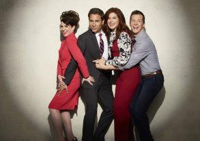 WILL & GRACE -- Season: 1 -- Pictured: (l-r) Megan Mullally as Karen Walker, Eric McCormack as Will Truman, Debra Messing as Grace Adler, Sean Hayes as Jack McFarland -- (Photo by: Andrew Eccles/NBC)