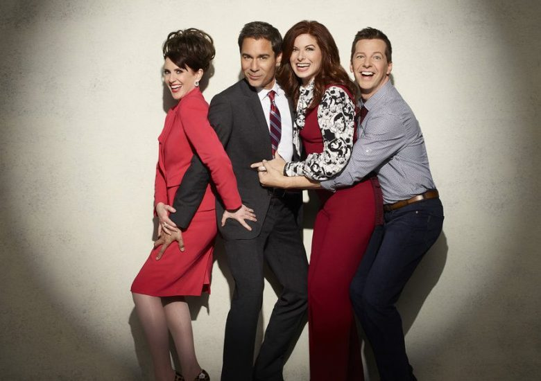 WILL & GRACE -- Season: 1 -- Pictured: (l-r) Megan Mullally as Karen Walker, Eric McCormack as Will Truman, Debra Messing as Grace Adler, Sean Hayes as Jack McFarland -- (Photo by: Andrew Eccles/NBC)