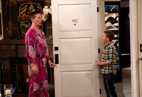 "WILL & GRACE -- ""Grandpa Jack"" Episode 105 -- Pictured: (l-r) Sean Hayes as Jack McFarland, Jet Jurgensmeyer as Skip -- (Photo by Chris Haston/NBC)"