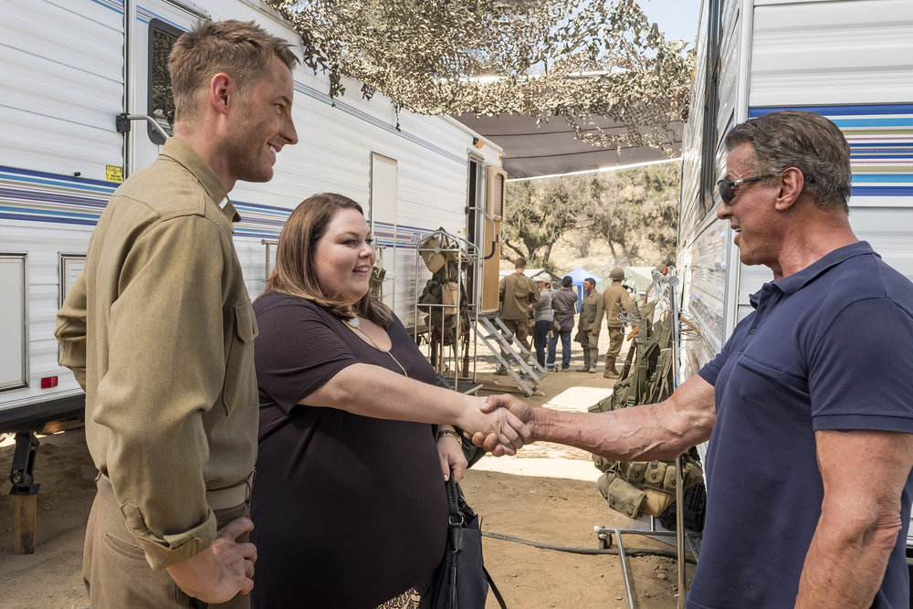 "THIS IS US ""Deja Vu"" Episode 203 -- Pictured: (l-r) Justin Hartley as Kevin, Chrissy Metz as Kate, Sylvester Stallone as Himself -- (Photo by: Ron Batzdorff/NBC)"