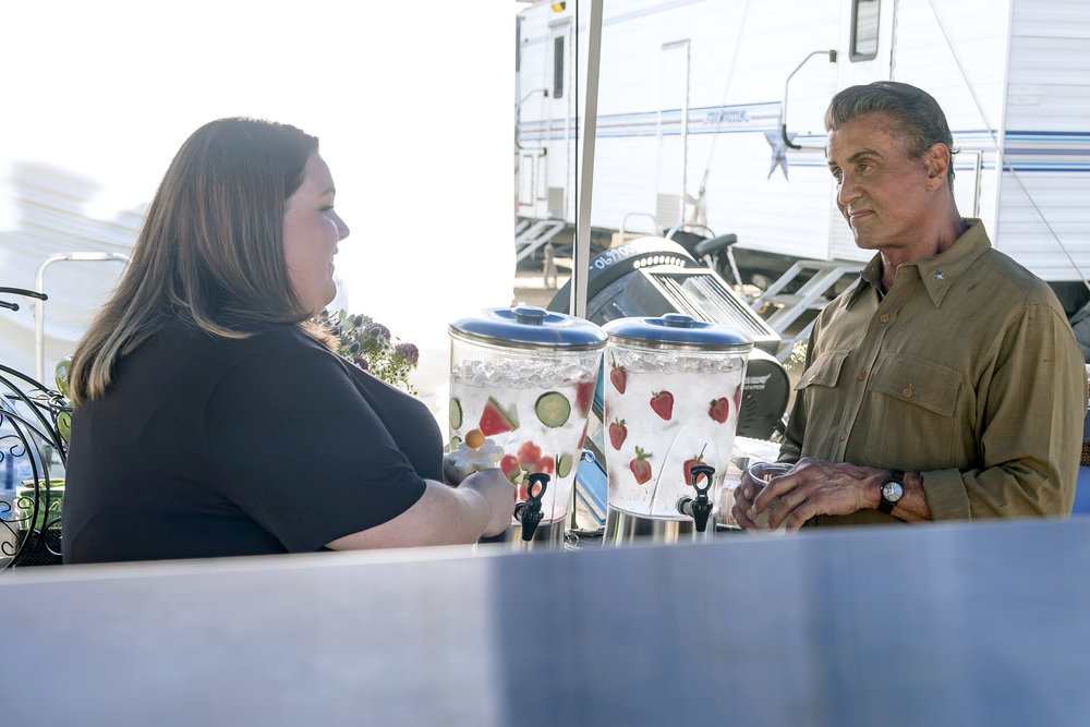 "THIS IS US ""Deja Vu"" Episode 203 -- Pictured: (l-r) Chrissy Metz as Kate, Sylvester Stallone as Himself -- (Photo by: Ron Batzdorff/NBC)"