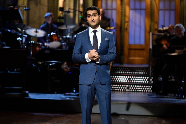 """SATURDAY NIGHT LIVE -- """"Kumail Nanjiani"""" Episode 1728 -- Pictured: Kumail Nanjiani during the opening monologue in Studio 8H on Saturday, October 14, 2017 -- (Photo by: Will Heath/NBC)"""