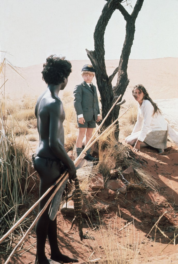 No Merchandising. Editorial Use Only. No Book Cover Usage.Mandatory Credit: Photo by Max Raab/Si Litvanoff/Kobal/REX/Shutterstock (5883006c)David Gulpilil, Lucien John, Jenny AgutterWalkabout - 1970Director: Nicolas RoegMax Raab/Si Litvanoff FilmsBRITAINScene StillLa Randonnée