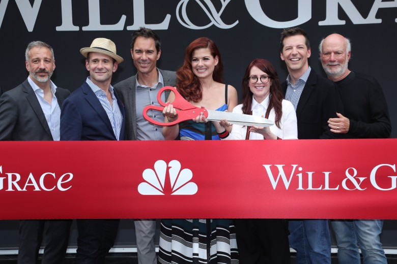 David Kohan, Max Mutchnick, Eric McCormack, Debra Messing, Megan Mullally, Sean Hayes and James Burrows'Will & Grace' TV show photocall, Los Angeles, USA - 02 Aug 2017