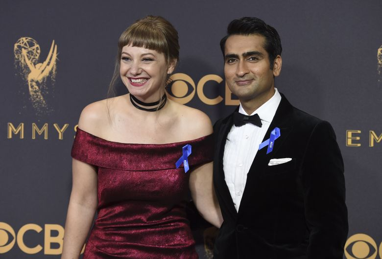 Emily V. Gordon, Kumail Nanjiani. Emily V. Gordon, left, and Kumail Nanjiani arrive at the 69th Primetime Emmy Awards, at the Microsoft Theater in Los Angeles2017 Primetime Emmy Awards - Arrivals, Los Angeles, USA - 17 Sep 2017