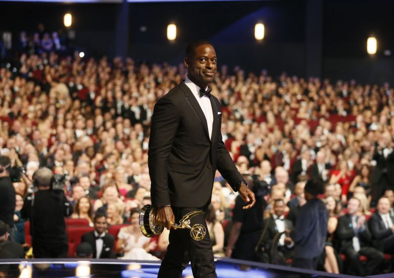 "Sterling K. Brown accepts the award for outstanding lead actor in a drama series for ""This Is Us"" on the red carpet stage at the 69th Primetime Emmy Awards, at the Microsoft Theater in Los Angeles69th Primetime Emmy Awards - Red Carpet Stage, Los Angeles, USA - 17 Sep 2017"