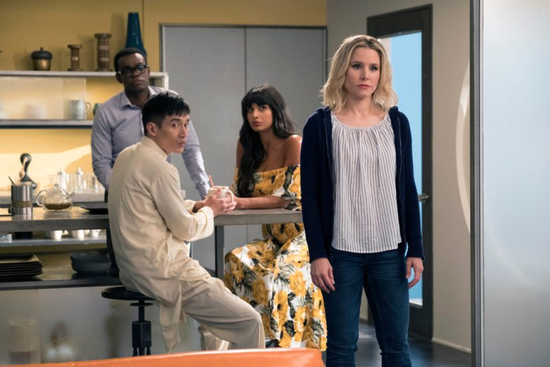 """THE GOOD PLACE -- """"Team Cockroach"""" Episode 204 -- Pictured: (l-r) William Jackson Harper as Chidi, Manny Jacinto as Jianyu, Jameela Jamil as Tahani, Kristen Bell as Eleanor Shellstrop -- (Photo by: Colleen Hayes/NBC)"""