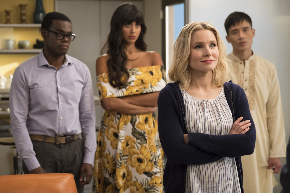 "THE GOOD PLACE -- ""Team Cockroach"" Episode 204 -- Pictured: (l-r) William Jackson Harper as Chidi, Jameela Jamil as Tahani, Kristen Bell as Eleanor Shellstrop, Manny Jacinto as Jianyu -- (Photo by: Colleen Hayes/NBC)"