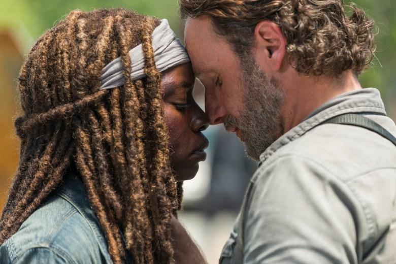 Andrew Lincoln as Rick Grimes, Danai Gurira as Michonne- The Walking Dead _ Season 8, Episode 1 - Photo Credit: Gene Page/AMC