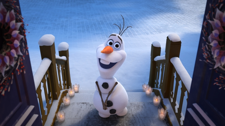 "KNOCK KNOCK – In Walt Disney Animation Studios' ""Olaf's Frozen Adventure,"" Olaf goes door to door in Arendelle in search of the best holiday traditions to bring home to Anna and Elsa, who are celebrating their first Christmas in forever. The 21-minute featurette opens in front of Disney•Pixar's original feature ""Coco"" in U.S. theaters on Nov. 22, 2017. ©2017 Disney. All Rights Reserved."