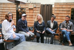 HOLLYWOOD, CA - NOVEMBER 15:  (L-R) Dana Harris and directors Chad Hartigan, Patricia Rozema, Atom Egoyan and Jarod Moshe speak during DIRECTV Presents The Directors Table with A24 and IndieWire  at Wood & Vine on November 15, 2017 in Hollywood, California.  (Photo by Rich Fury/Getty Images for DIRECTV CINEMA)