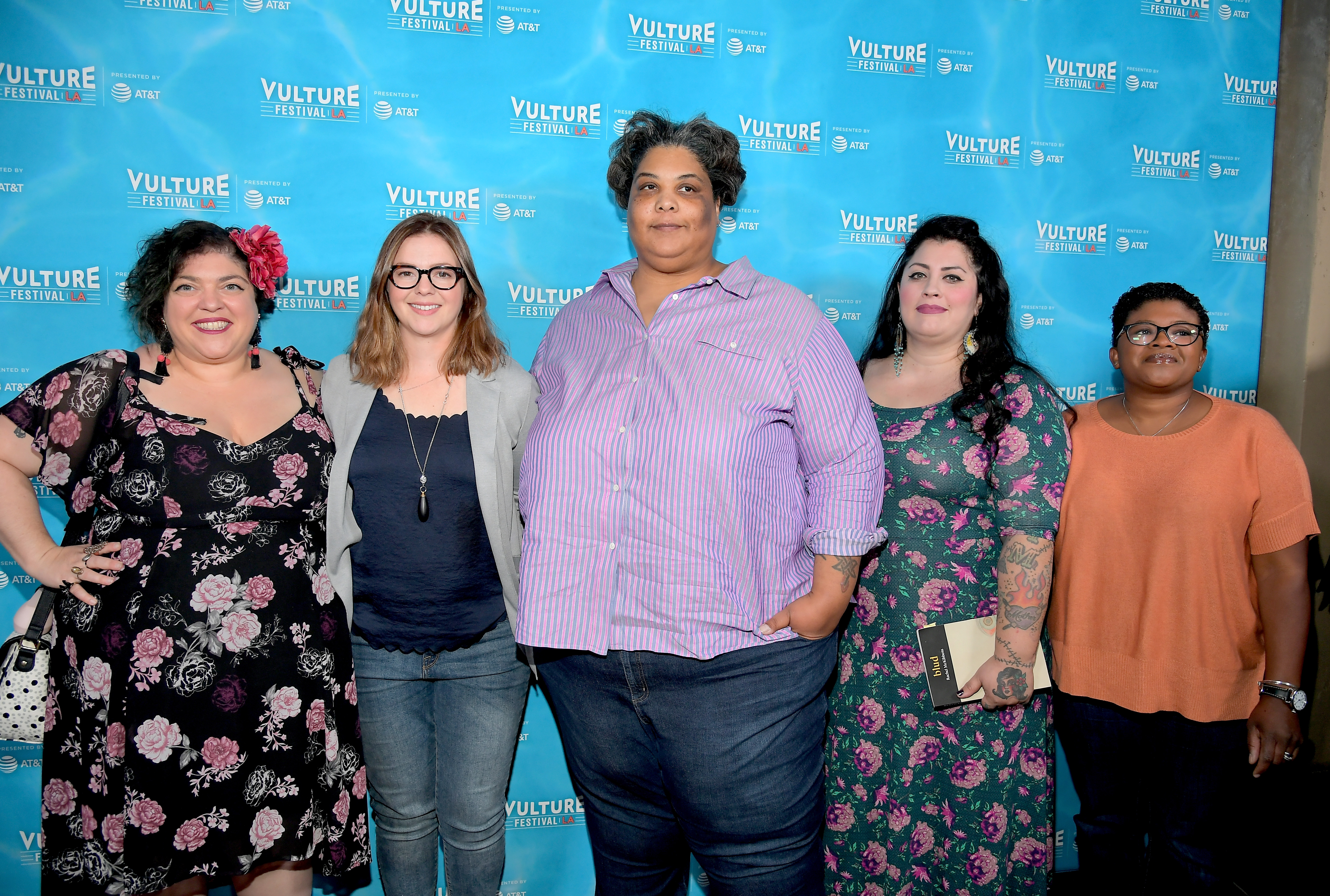 HOLLYWOOD, CA - NOVEMBER 18:  (L-R) Writer Randa Jarrar, actor Amber Tamblyn, writer Roxanne Gay, writer Rachel McKibbens, and writer Attica Locke attend the 'Feminist AF' panel during Vulture Festival LA Presented by AT&T at Hollywood Roosevelt Hotel on November 18, 2017 in Hollywood, California.  (Photo by Charley Gallay/Getty Images for Vulture Festival)