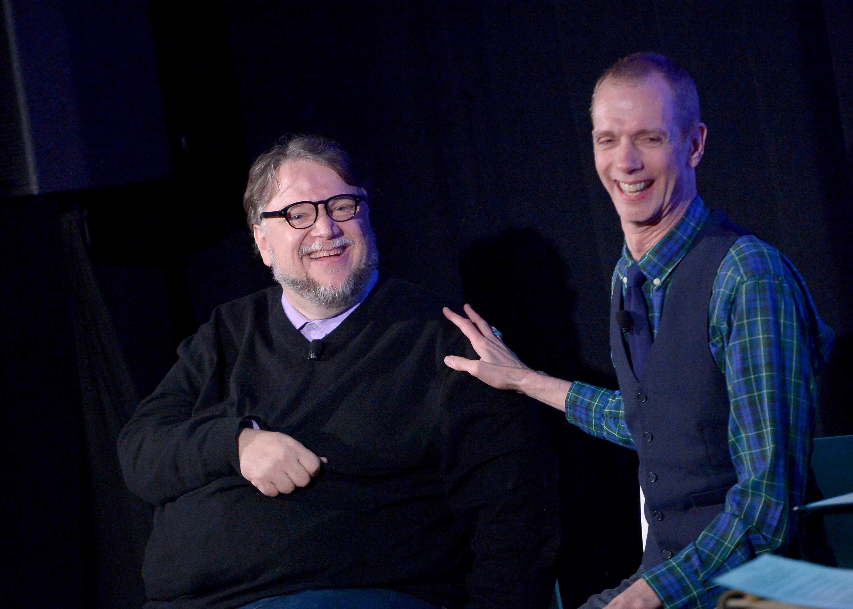HOLLYWOOD, CA - NOVEMBER 18: Filmmaker Guillermo del Toro (L) and actor Doug Jones speak onstage during the 'Shape of Water' event, part of Vulture Festival LA Presented by AT&T at Hollywood Roosevelt Hotel on November 18, 2017 in Hollywood, California. (Photo by Charley Gallay/Getty Images for Vulture Festival)