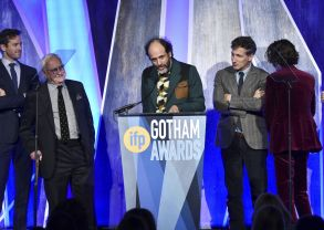 "Director Luca Guadagnino, center, accepts the best feature award for ""Call Me By Your Name"" at the 27th annual Independent Film Project's Gotham Awards at Cipriani Wall Street, in New York27th Annual IFP Gotham Awards - Show, New York, USA - 27 Nov 2017"