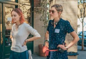 "Greta Gerwig on the set of ""Lady Bird"""