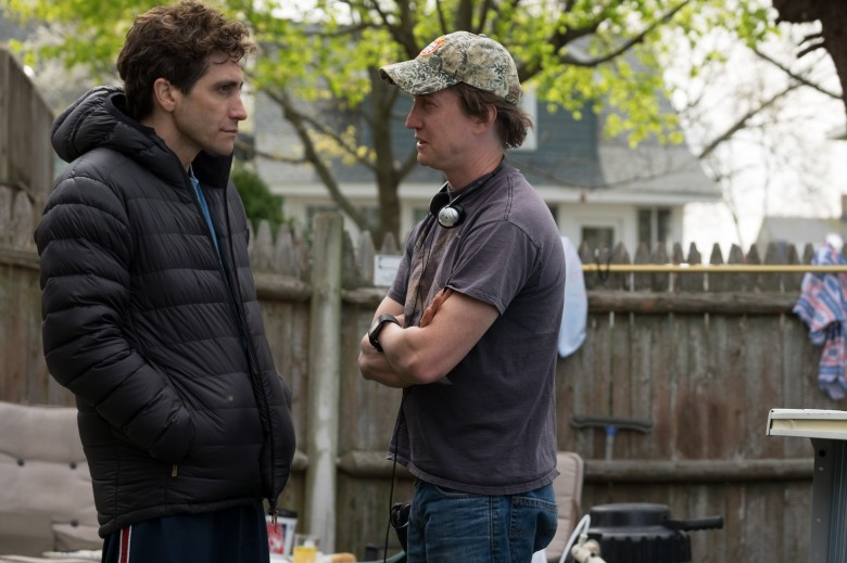 "Jake Gyllenhall and David Gordon Green on the set of ""Stronger"""