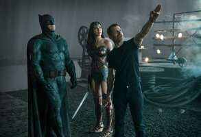 "Ben Affleck, Gal Gadot and Zack Snyder on the set of ""Justice League"""