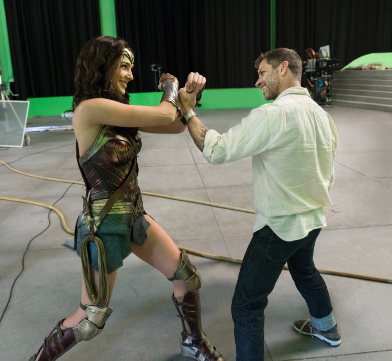 "Gal Gadot and Zack Snyder on the set of ""Justice League"""