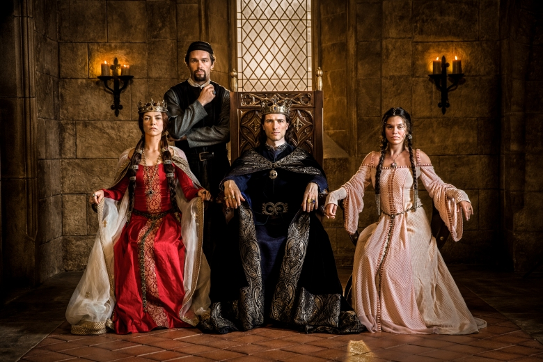 L to R: Queen Joan of Navarre (Olivia Ross), William De Nogaret (Julian Ovenden), King Philip IV of France (Ed Stoppard) and Princess Isabella (Sabrina Bartlett) from HISTORY's New Drama Series Knightfall. Series premieres Dec. 6 at 10PM ET/PT. Photo by Larry Horricks/HISTORY Copyright 2017