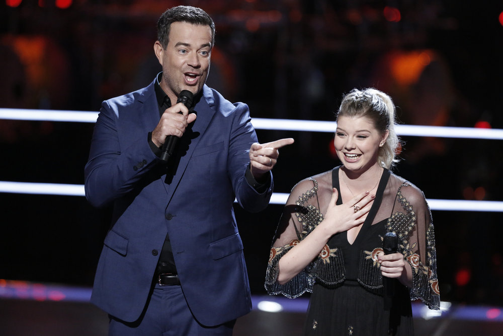 "THE VOICE -- ""Battle Rounds"" -- Pictured: (l-r) Carson Daly, Megan Rose -- (Photo by: Tyler Golden/NBC)"